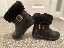 Girls Black Patent Fur Ugg Boots Infant Size 7