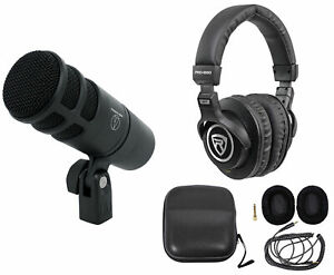 Audio Technica AT2040 Microphone Broadcast Podcast Podcasting Mic + Headphones