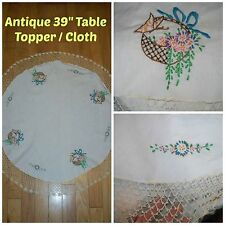 "Antique 39"" Round Linen Floral Baskets Embroidering w/ Crochet Lace Table Cloth"