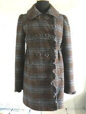 American Rag Wool Blend Plaid Ruffle Coat Small Brown/Blue