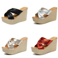 Womens Ladies Platform Slippers Summer Slip On Wedge Sandals Slides 8/11cm Heels