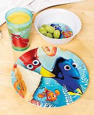 New Disney's Pixar Finding Dory Kids' 3 Piece Plastic Meal Set Dishwasher Safe