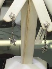 Platinum Sterling Silver White Sapphire Star Dangle Design Stud Earrings Gift