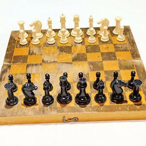 Chess Vintage USSR Soviet Set Plastic Russian Style Antique Old Rare Big Wood