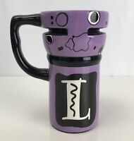Coffee Tea Travel Mug Initial Letter L Ceramic Cup Purple Sippy Lid Handle