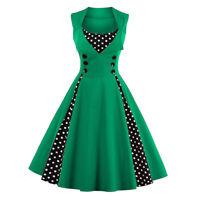 Womens Retro 1950s Rockabilly Polka Dot Cocktail Prom Party Swing Dress Vintage