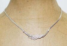 "Avon White Crystal Rhinestone Silver Plated 16"" Choker Necklace"