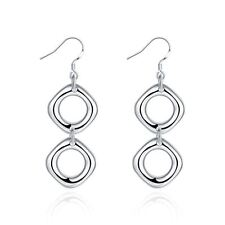 925 Silver Plt Double Hollow Square Drop Dangle Hook Earrings Circle Oval A