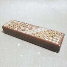 F/S Yosegi Zaiku Craft Japanese Wooden Mosaic Parquetry Pen case Pencil Box JPN