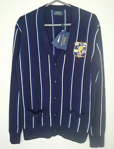 Ralph Lauren Polo Men Stripe *Wool / Cashmere* Crest Cardigan Sz: S, rrp:£199