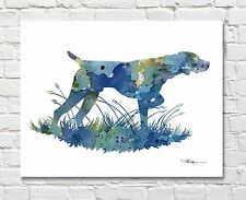 German Short Haired Pointer Contemporary Watercolor Art Print by Artist Djr