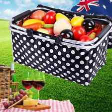 Foldable Cooler Bag Outdoor Picnic Basket Camping Black Dot Carry HBASK 3795