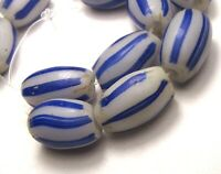 12 DUTCH WHITE COBALT STRIPED OVAL MELON ANTIQUE BEADS AFRICAN TRADE