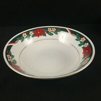 VTG Vegetable Serving Bowl by Tienshan DECK THE HALLS Christmas Poinsettia