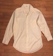Vintage Mens Long Sleeve Shirt Button Down Ivory Collared 15 1/2 32 100% Cotton