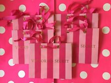 (5) Victoria's Secret SMALL Paper Shopping Gift Bags ~ Pink/Hot Pink Stripes NEW