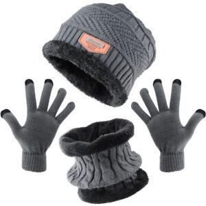 NEW 3 Piece Set Warm Beanie Hat Neck Warmer Hat Scarf Gloves Set And Neck Scarf