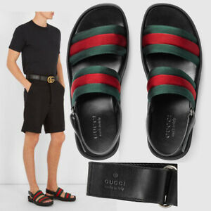 GUCCI SHOES MENS BLACK LEATHER AND WEB SAM SANDALS 7.5 / 8 US