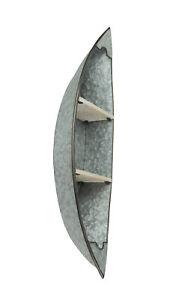 Galvanized Zinc Finish Canoe Shaped Wall Mounted Shelf Lake / Lodge Decor