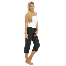 LADIES WOMEN LINEN 3 QUARTER PANTS CROPPED TROUSER 3/4 RELAXED FIT SUMMER SHORTS