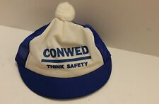 Vtg Mesh Trucker Snapback Cap Conwed Think Safety Ladies Hat Pom Puff Ball RARE