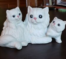 Vintage Homco #1412 White Bisque Persian Cat with Kittens Figurine