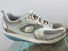 Skechers Shape Ups Womens Gray Leather Lace Up Toning Exercise Shoes Womens 9.5