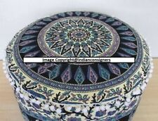 22''Inch Ottoman Round Cover Chair Seat Puff Multi Cotton Elephant Mandala