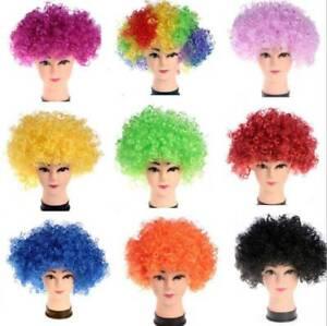 Pom Pom Head Fun Wig Clown Team Spirit OSFM Blue Orange Yellow Halloween