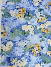"""1.67 yards Blue and Yellow Flowers Abstract Calico Stretch Fabric 60"""" x 55"""""""