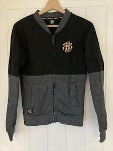 Ladies Baseball Jacket MAN UTD Grey Black Official - Size 8