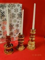 Cedar Wood Candle Holders with Candles Handmade Wedding Gift Decor Mantel Home