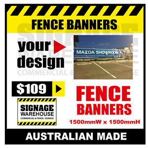 Custom Outdoor Fence Mesh Banner Sign Wrap - 1500mmW x 1500mmH Signage Warehouse