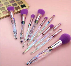 10 Piezas, Brochas De Maquillaje, Crystal Diamond Shape Brush Set Plus Bag