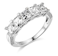 3 Ct Princess Cut Real 14k White Gold 5-Stone Wedding Anniversary Band Ring