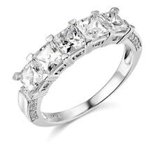 3 CT princesa Corte Real Oro Blanco 14k 5 Piedra Anillo de boda banda de aniversario