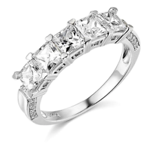 3 Ct Princess Cut Real 14k Ouro Branco Pedra 5-Aniversário De Casamento Banda Anel