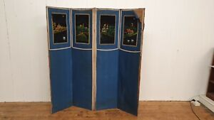 Part Velvet Vintage Art Nouveau Arts and Crafts 4 Fold Vanity Screen Bohemian