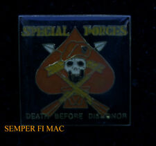 SPECIAL FORCES DEATH BEFORE DISHONOR LAPEL HAT PIN UP US ARMY VETERAN SKULL WOW