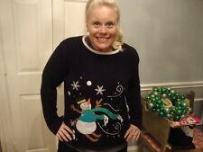 Ugly Tacky Christmas x mas Snowman Snowflake Navy Blue Sweater M