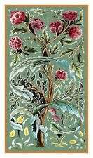 William Morris Oak Roses Design Counted Cross Stitch Chart Pattern
