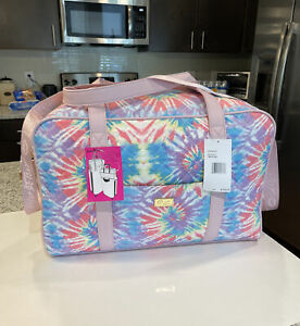 Luv BETSEY JOHNSON Weekender Duffel Overnighter Bag Pastel Rainbow Tye Dye Pink