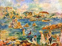 PIERRE AUGUSTE RENOIR BEACH OF GUERNSEY OLD MASTER ART PAINTING PRINT 2382OMA