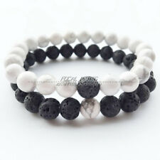 1 Pair 8mm Lava Chakra Stone Beads Couple Lover Relationship Bracelets A261