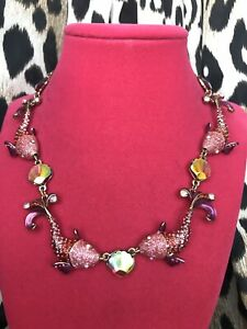 Betsey Johnson Crabby Couture Koi Fish Pond Pink Iridescent Shell Necklace