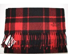 COACH Men's Red and Black Plaid Check Wool Cashmere Blend LOGO Scarf Gift Box