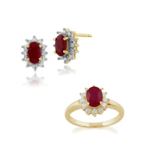 Gemondo 9ct Yellow Gold Ruby & Diamond Cluster Stud Earring & Ring Set