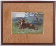 """""""Portrait of a dachshund in landscape"""", English watercolor, late 19th century"""