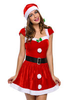 Red Velvet Mrs Santa Claus Holiday Christmas Festive Dress Costume Lingerie 7170
