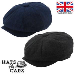 Mens Peaky Blinders Newsboy Flat Cap Grey Navy Herringbone Gatsby 8 panel Hat